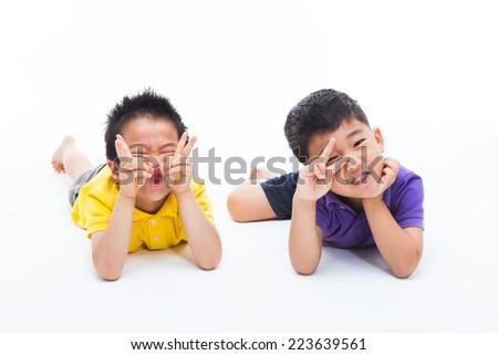 Joyful Asian two boys isolated on white.  - stock photo