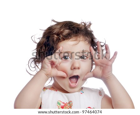 joyful baby girl - stock photo