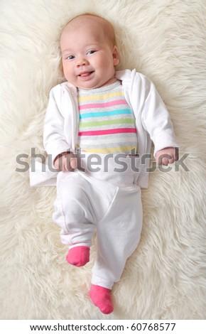 joyful baby (girl 1,5 months ) - stock photo