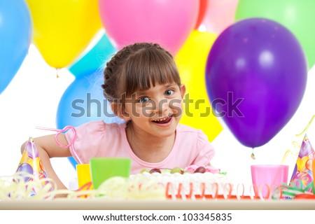joyful beautiful girl celebrating birthday party - stock photo