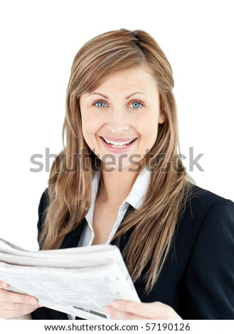 Joyful businesswoman  reading a newspaper against a white background - stock photo
