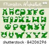 Joyful Cartoon font - from A to Z, monster green capital letter - stock photo