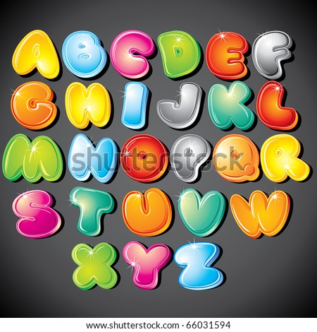 Joyful Cartoon font type - letter from A to Z --------> version eps at my gallery - stock photo