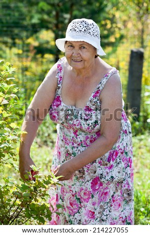 Joyful Caucasian elderly woman gardening, looking at camera - stock photo