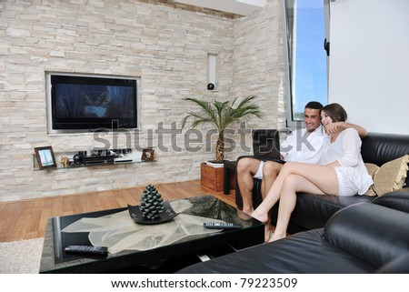 Joyful Couple Relax And Work On Laptop Computer At Modern Livingroom Indoor  Home