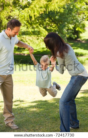 Joyful family in the park