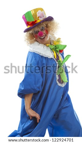 Joyful female clown costume on a white background