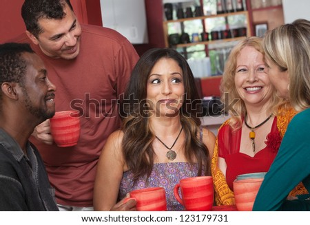 Joyful group of white, Black and Hispanic adults - stock photo