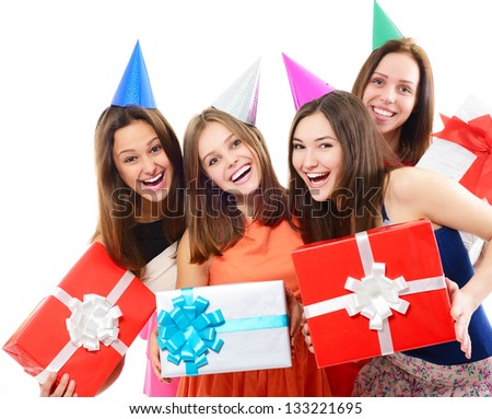 Joyful happy smiling young women have fun on birthday party, over white - stock photo