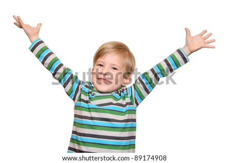 Joyful kid with arms spread wide - stock photo