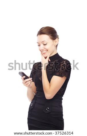 Joyful lady holding cell phone and sending SMS - stock photo