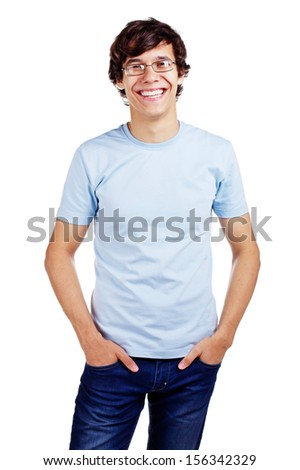 Joyful latin young man in glasses and blue shirt with hands in pockets. Isolated on white background, mask included - stock photo