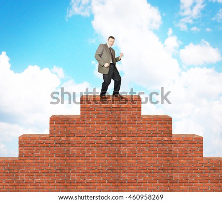 Joyful man climbed on the brick pyramid. Concept of success