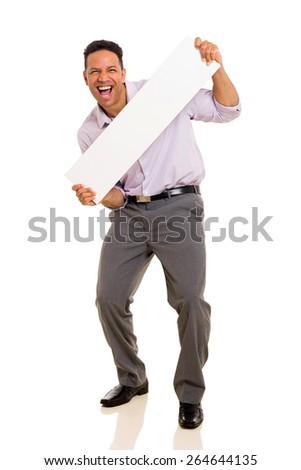 joyful man presenting blank white board - stock photo