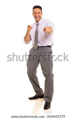 joyful middle aged man pointing at the camera isolated on white background - stock photo