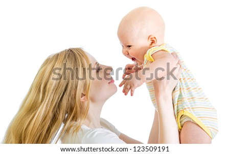 joyful mother playing with her baby boy isolated on white background - stock photo