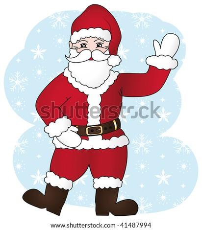 Joyful santa claus cartoon illustration II. - stock photo