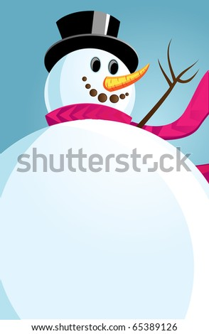Joyful Snowman against the winter sky. Vector illustration.