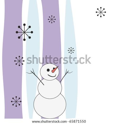 Joyful snowman. On an abstract background. - stock photo