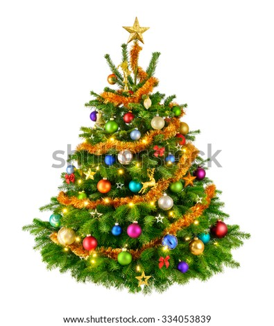 Joyful studio shot of an elegant natural Christmas tree with colorful ornaments, isolated on white - stock photo