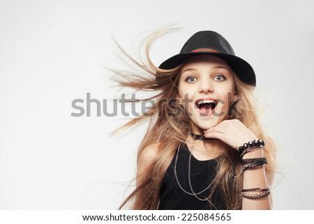 Joyful stylish teenage girl  - stock photo