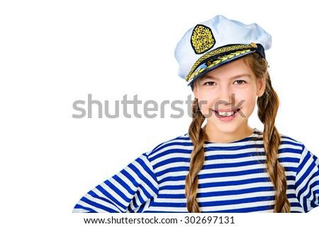 Joyful teen girl wearing sailor's striped vest and marine cap. Studio shot. Isolated over white. - stock photo