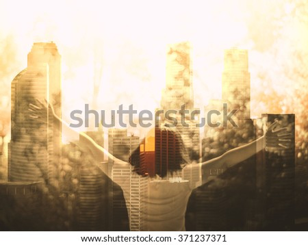 Joyful woman open hand with city and nature background, Double exposure. - stock photo
