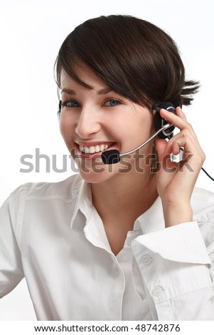 joyful woman operator with headset - microphone and headphones, on white - stock photo