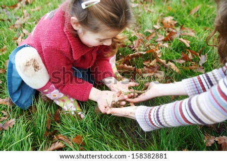 Joyful young children sisters girls collecting grass and autumn dry leaves from a park grass ground, getting their hands dirty during a fall day, having fun outdoors. - stock photo