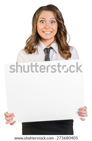 Joyful young girl holding a blank poster. On a white background