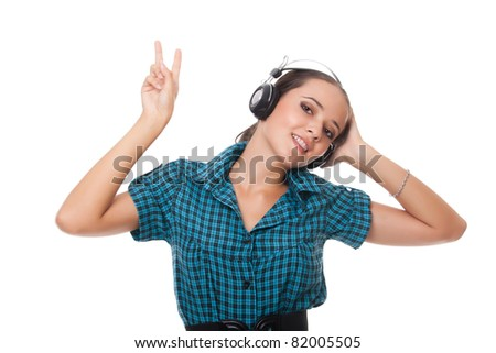 joyful young woman in headphones on white background - stock photo