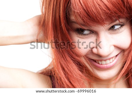Joyful young woman with cute shy expression over white - stock photo