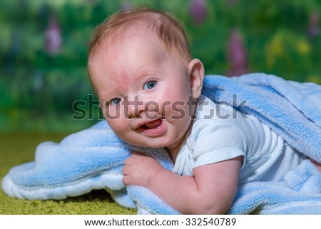 joyous child laughs, close-up portrait. - stock photo