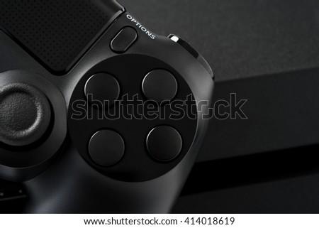 Joystick on white background, isolated close-up - stock photo