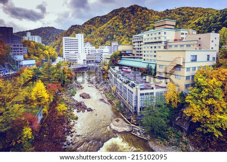 Jozankei, Hokkaido, Japan in the fall season. - stock photo