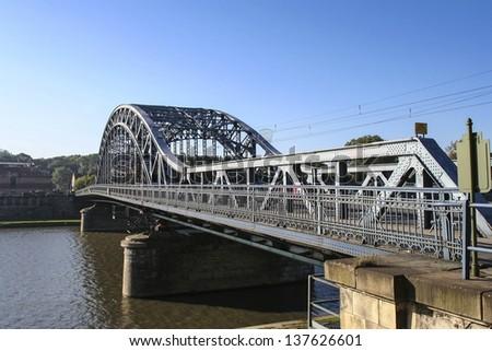Jozef Pilsudski bridge over Wisla river, Krakow, Poland - stock photo