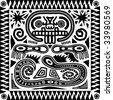 Jpeg aztec tribal pattern in black and white. - stock photo