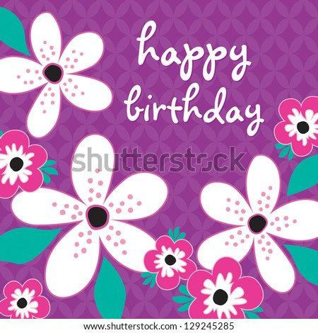 JPEG Birthday Card with white and pink flowers on vintage purple background pattern. See my folio for other colors and for vector versions. - stock photo