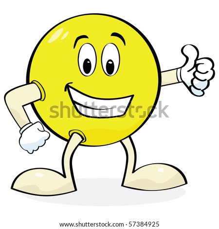 Jpeg cartoon illustration of a happy face with hands and legs showing a 'thumbs up' sign - stock photo