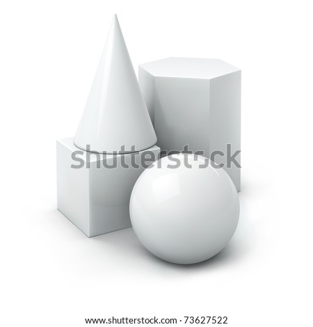 jpeg composition of white basic geometric shapes: cube, cone, prism, ball. jpg - stock photo