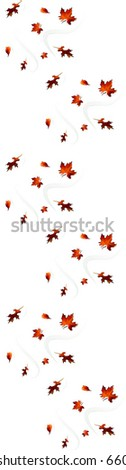 JPEG Falling Leaf Repeating Pattern Border - stock photo