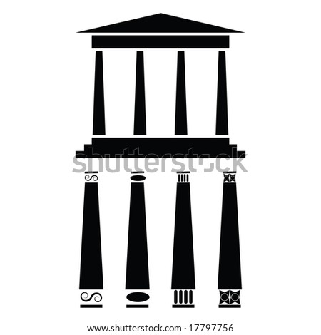Jpeg icon illustration of ancient Greek style temple or building. For vector version, please see my portfolio. - stock photo
