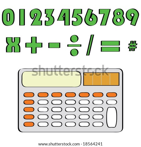 Jpeg illustration of a calculator and common mathematical numbers and symbols. For vector version, please see my portfolio. - stock photo
