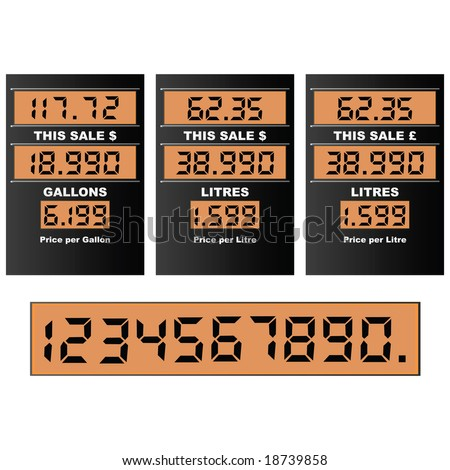 Jpeg illustration of a gas pump display, with separate numbers for changing prices. Information in gallons and litres, dollars and pounds