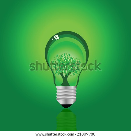 Jpeg illustration of a green ecological lamp with a tree planted inside