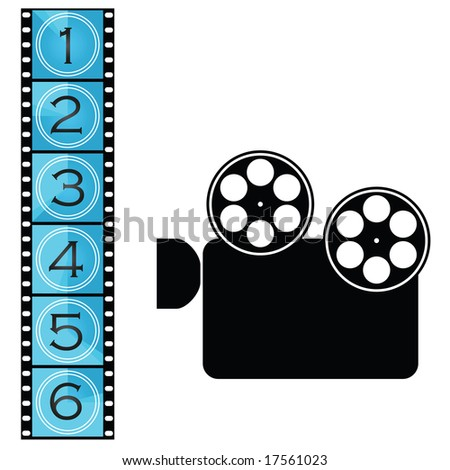 Jpeg illustration of a movie film strip with countdown and movie projector. For vector version, please see my portfolio. - stock photo