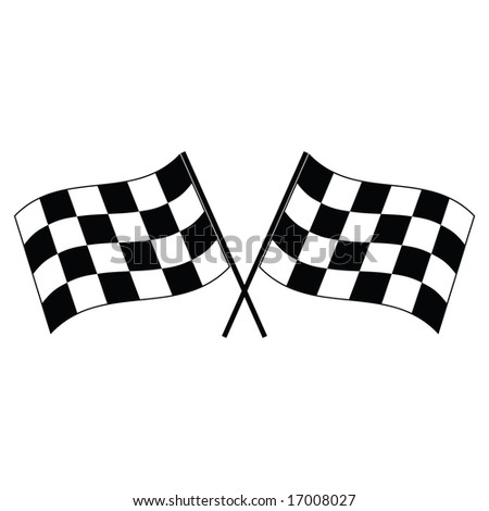 Jpeg illustration of a pair of checkered flags waving.