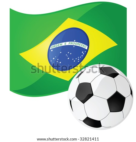 Jpeg illustration of a soccer ball in front of the Brazilian flag