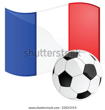 Jpeg illustration of a soccer ball in front of the French flag