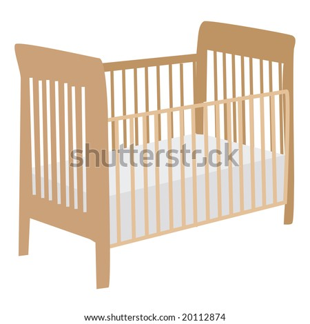 Jpeg illustration of an empty wooden baby crib
